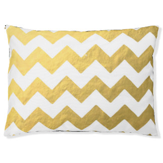 Gold Chevron Large Outdoor Dog Bed
