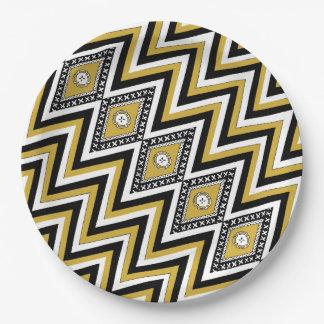Gold Chevron Masi Paper Plates
