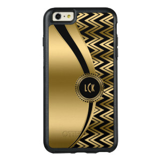 Gold Chevron & Modern Stripes & Black Background OtterBox iPhone 6/6s Plus Case