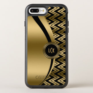 Gold Chevron & Modern Stripes & Black Background OtterBox Symmetry iPhone 8 Plus/7 Plus Case