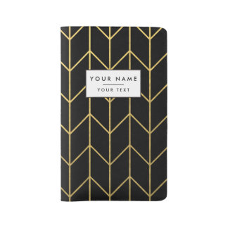Gold Chevron on Black Background Modern Chic Large Moleskine Notebook