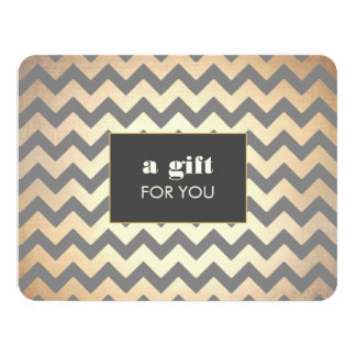 Gold Chevron Pattern Salon & Spa Gift Certificate 11 Cm X 14 Cm Invitation Card