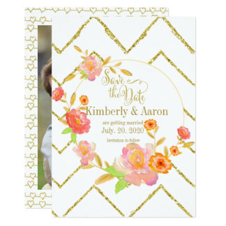 Gold Chevron Pink Floral | Save The Date Photo Card