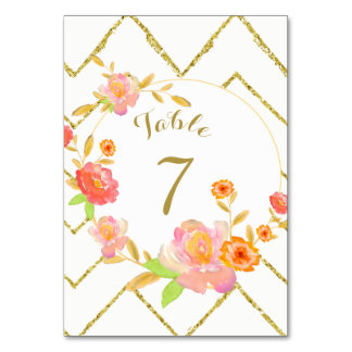 Gold Chevron Pink Floral Wedding Table Number