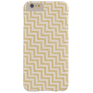 Gold Chevron Stripes Glitter Barely There iPhone 6 Plus Case