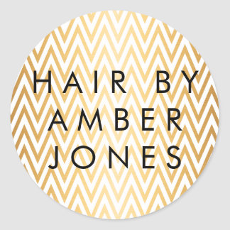 gold chevron stripes salon stylist classic round sticker