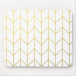 Gold Chevron White Background Modern Chic Mousemat
