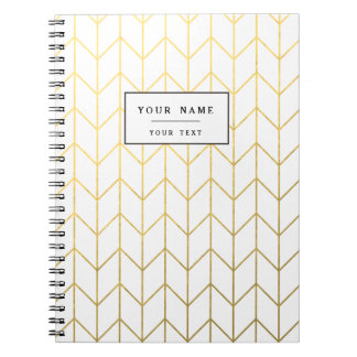 Gold Chevron White Background Modern Chic Note Book