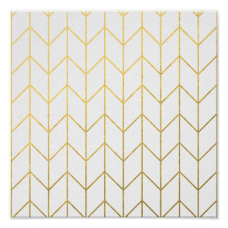 Gold Chevron White Background Modern Chic Poster