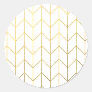 Gold Chevron White Background Modern Chic Round Stickers