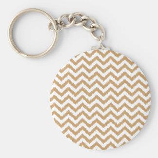 Gold Chevron Zigzag Pattern Key Ring