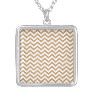 Gold Chevron Zigzag Pattern Silver Plated Necklace