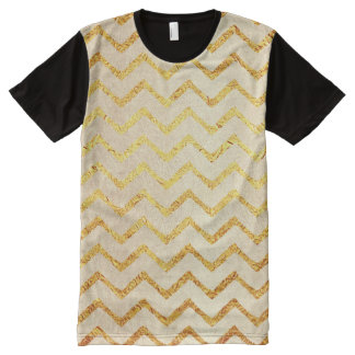 Gold Chevrons Faux Foil Glitter Background Chevron All-Over Print T-Shirt