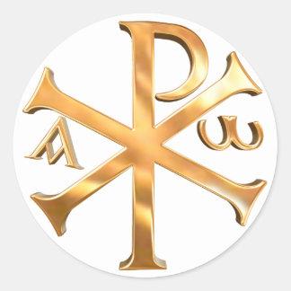 Gold Chi-Rho Classic Round Sticker