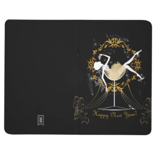 Gold chic elegant black glitter new year party journal