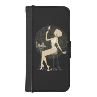 Gold chic elegant black vintage beautiful lady iPhone SE/5/5s wallet case