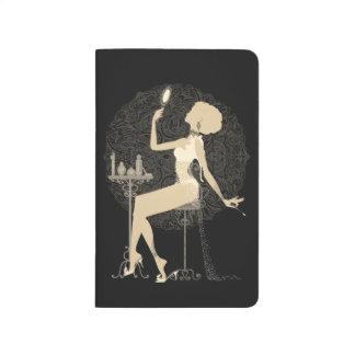 Gold chic elegant black vintage beautiful lady journal