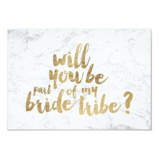 Gold chic marble bride tribe bridesmaid 9 cm x 13 cm invitation card