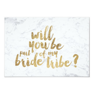 Gold chic marble bride tribe bridesmaid card