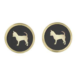 Gold Chihuahua Dog on Black Gold Finish Cuff Links