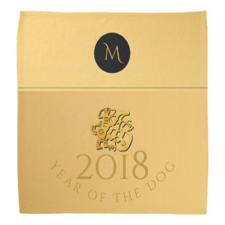 Gold Chinese Dog Papercut 2018 Monogram Bandana