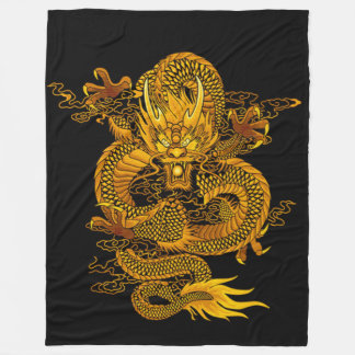 Gold Chinese Emperor Dragon Fleece Blanket