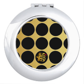 Gold Chinese Papercut Black Dots G Compact M Mirror For Makeup