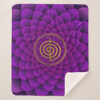 Gold  Choku Rei Symbol on lotus Sherpa Blanket