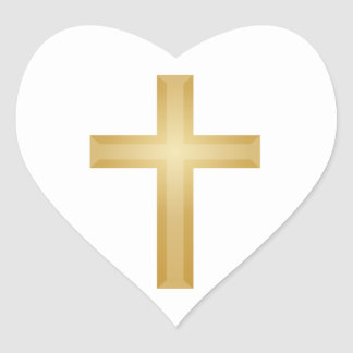 Gold Christian Cross Heart Sticker