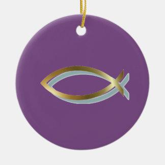 Gold Christian Fish Symbol Ceramic Ornament