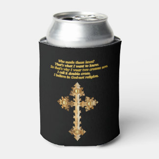 Gold Christian Fun cross with funny saying Can Cooler