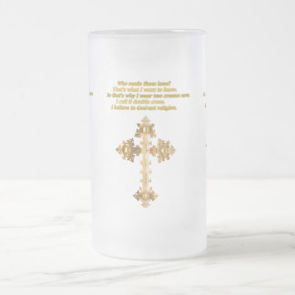 Gold Christian Fun cross with funny saying Frosted Glass Beer Mug