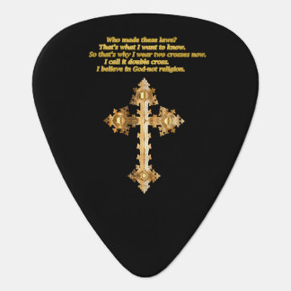 Gold Christian Fun cross with funny saying Plectrum