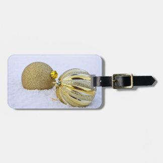 Gold Christmas Ball Ornaments in the Snow Luggage Tag