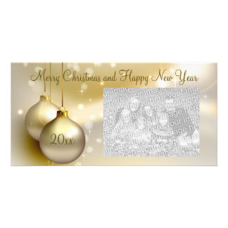 Gold Christmas Balls on Gold Photo Cards