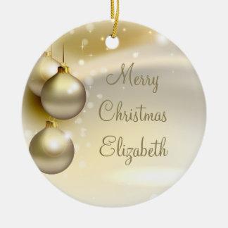 Gold Christmas Balls on Gold Round Ceramic Decoration