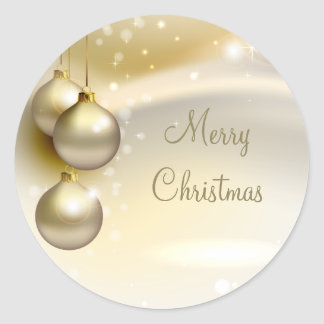 Gold Christmas Balls on Gold Round Sticker
