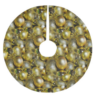 Gold Christmas Baubles Brushed Polyester Tree Skirt
