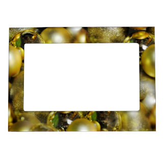Gold Christmas Baubles Magnetic Picture Frame
