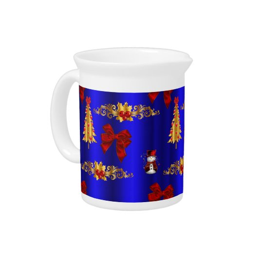 Gold Christmas Decorations on Blue Pitcher