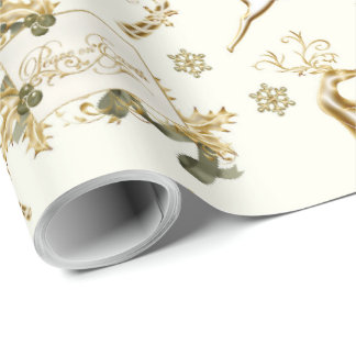 Gold Christmas Designs On White Wrapping Paper