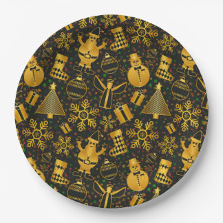 Gold Christmas Designs Paper Plates
