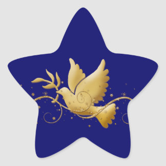 Gold Christmas dove of peace christian event stick Star Sticker