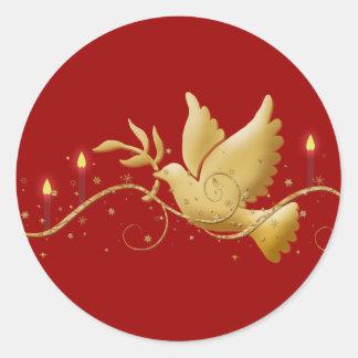 Gold Christmas dove peace elegant Round Sticker