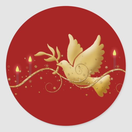 Gold Christmas dove peace elegant Round Stickers