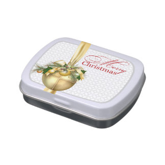 Gold Christmas Ornament Jelly Belly Tin
