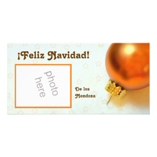 gold christmas ornament photo card