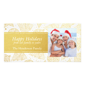 Gold Christmas Pattern Holiday Photo Card