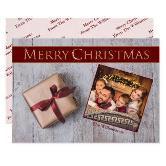 Gold Christmas Present on Snowy Deck Photo Card