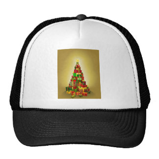 Gold Christmas present tree Illustration Mesh Hats